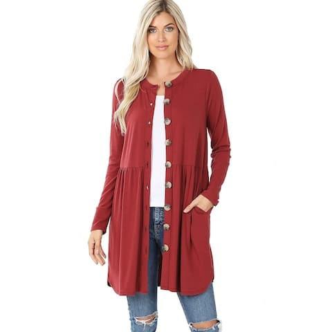 JED Women's Button Up Long Sleeve Cardigan with Side Pockets