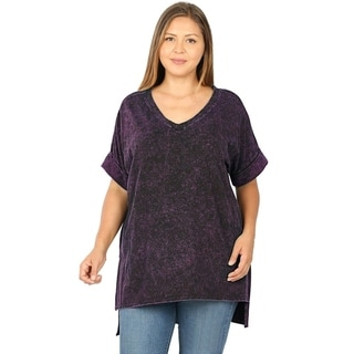 Link to JED Women's Plus Size Mineral Washed Cotton High Low V-Neck T shirt Similar Items in Women's Plus-Size Clothing