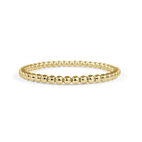 Beaded Bracelet 18k Yellow Gold Stretch 4mm