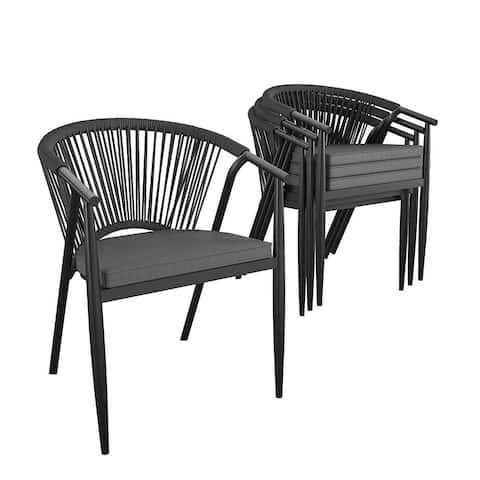 CosmoLiving by Cosmopolitan Circi Collection Stacking Dining Chair with Rope Weave (4-Pack)