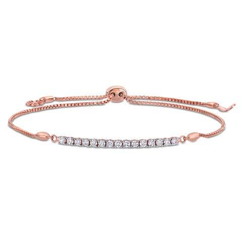 Miadora 14k Rose Gold 1/3ct TDW Diamond Adjustable Bolo Bar Station Tennis Bracelet