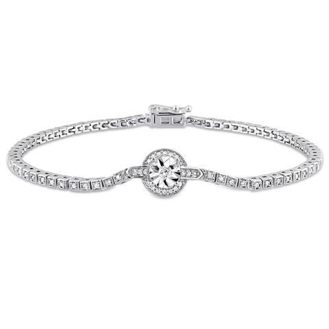 Miadora Sterling Silver 1/2ct TDW Diamond Station Tennis Bracelet