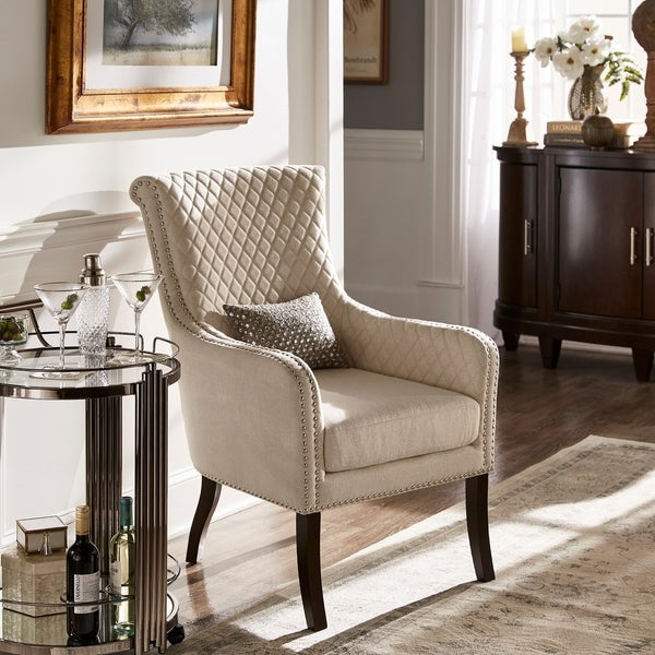 Marta Espresso Finish Beige Fabric Accent Chair by iNSPIRE Q Classic. Opens flyout.