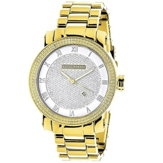 Luxurman 1/10ct Men's Stainless Steel Diamond Watch with Metal Band and Extra Leather Straps