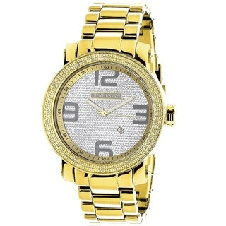 Luxurman Men's 1/10ct Yellow Goldplated Stainless Steel Watch with Metal Band and Extra Leather Stra