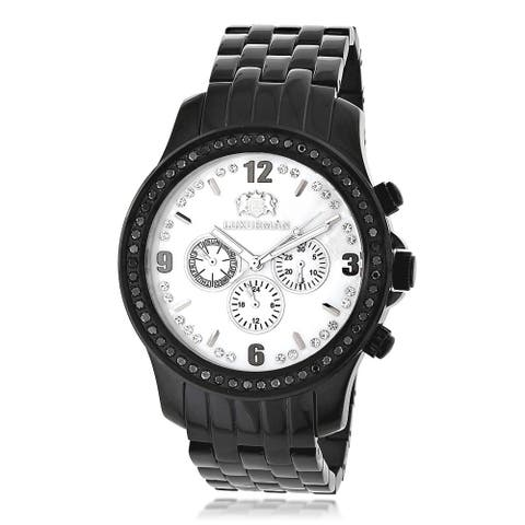 Luxurman Men's 2.25ct Black Diamond Stainless Steel Watch with Metal Band and Extra Leather Straps