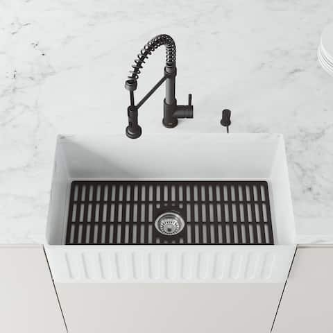VIGO 29.5 in x 14.625 in Matte Black Silicone Kitchen Sink Protective Bottom Grid For Single Basin 33 in Sink