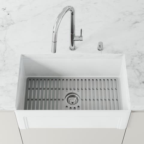 VIGO 29.5 in x 14.625 in Gray Silicone Kitchen Sink Protective Bottom Grid For Single Basin 33 in Sink