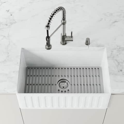 VIGO 27 in x 14.75 in Gray Silicone Kitchen Sink Protective Bottom Grid for Single Basin 30 in Sink