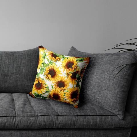 "Emdroidered Sunflower Pillow 20""X20"""