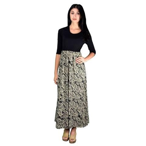 Womens Casual Black Kaleidoscope Two Tone Paisley Maxi Dress