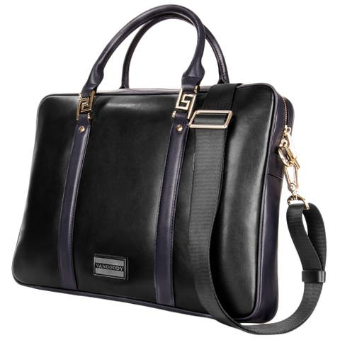 Genuine Leather Briefcase Attache Business Bags for Professional with Shoulder Strap and Top Handle, Unisex