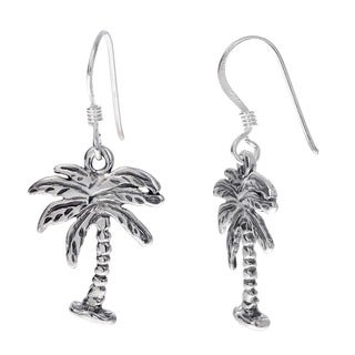 Journee Collection  Sterling Silver Earrings with Dangling Palm Tree