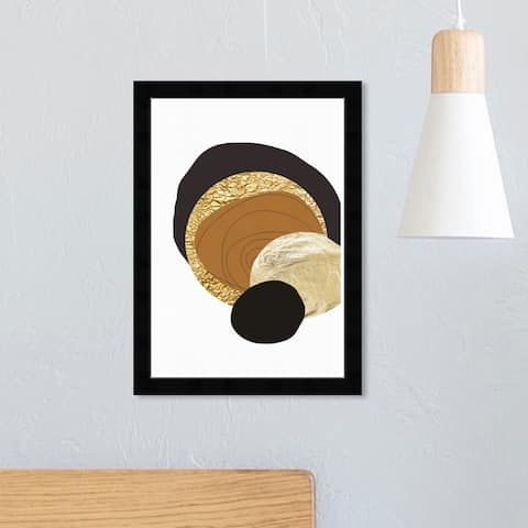 Wynwood Studio 'Golden Thoughts' Abstract Framed Wall Art Print Shapes - Gold, Brown