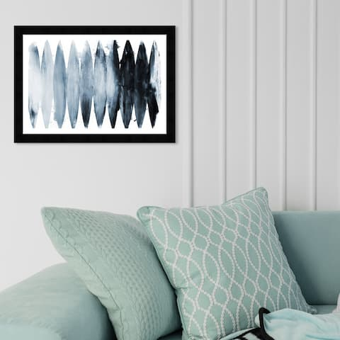Wynwood Studio 'Paradise Found Muted Blue' Abstract Framed Wall Art Print Paint - White, Black