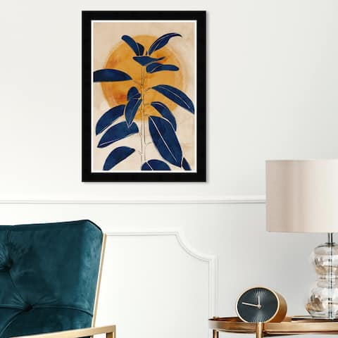 Wynwood Studio 'Blue Sprout' Floral and Botanical Framed Wall Art Print Botanicals - Blue, Yellow - 13 x 19