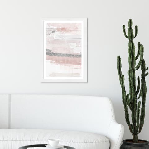 Wynwood Studio 'Sophisticated Elements Blush' Abstract Framed Wall Art Print Paint - White, Gray - 13 x 19