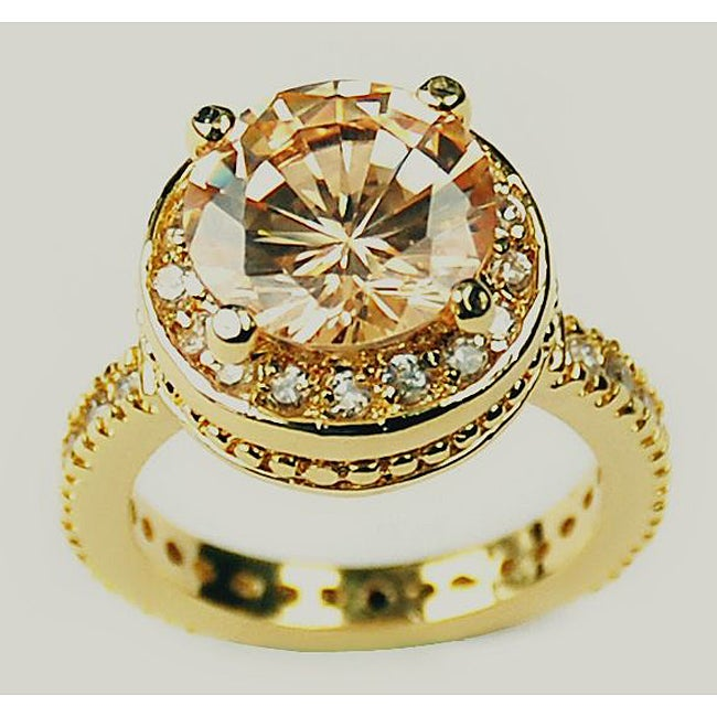 Simon Frank 14k Yellow Gold Overlay Orange CZ Solitaire Ring