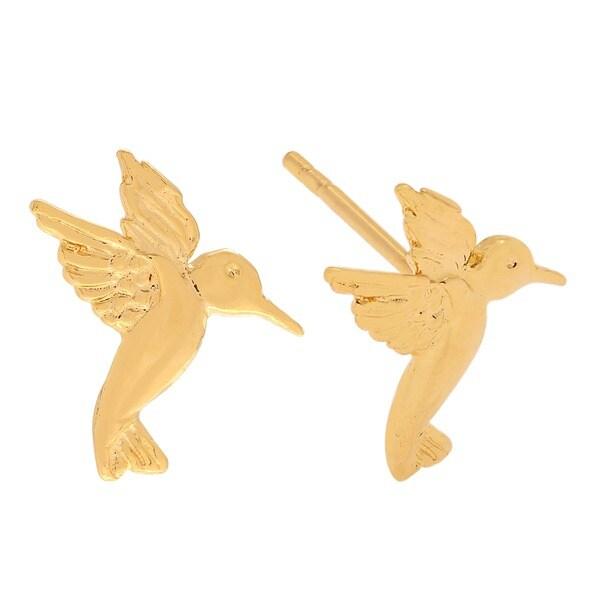 Journee Collection  Sterling Silver Hummingbird Stud Earrings