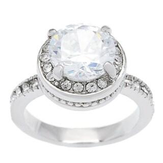 Simon Frank 14k White Gold Overlay Diamoness Solitaire Ring