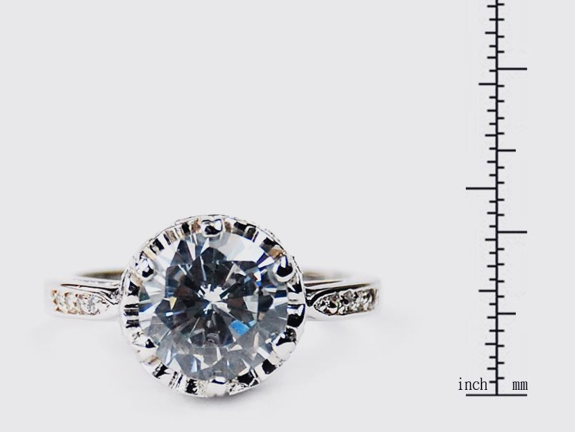 Simon Frank 14k White Gold Overlay Crown CZ Solitaire Ring - Thumbnail 1
