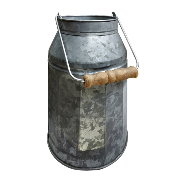 Countryside Decorative Metal Milk Can with Wooden Handle, Gray and Brown