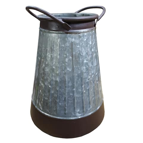 Decorative Corrugated Pail with Side Handles and Tapered Top, Gray and Brown