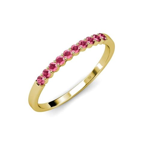 Trijewels Rhodolite Garnet 5/8 ctw 10 Stone Wedding Band 14KY Gold