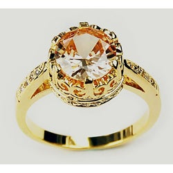 Simon Frank 14k Yellow Gold Overlay Champagne Crown Solitaire