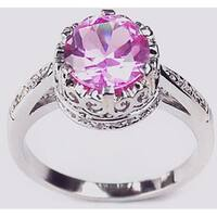 Simon Frank 14k White Gold Overlay Lavender Crown Solitaire
