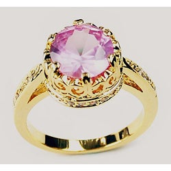 Simon Frank 14k Yellow Gold Overlay Pink Crown Solitaire