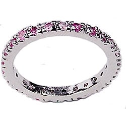 Simon Frank 14k White Gold Overlay Pink Lavender Eternity Band