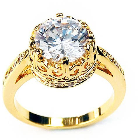 Simon Frank 14k Yellow Gold Overlay Crown Solitaire CZ Ring