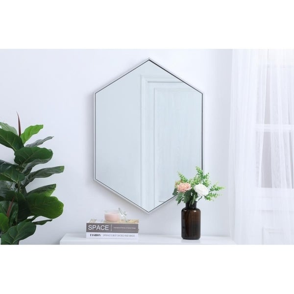 Carson Carrington Salsendi Metal Frame Hexagon Mirror In Gold (As Is Item). Opens flyout.