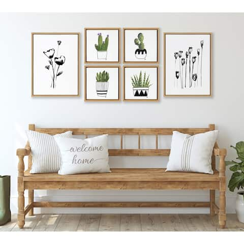 Kate and Laurel Sylvie Wildflowers Framed Canvas Set by Teju Reval - Natural