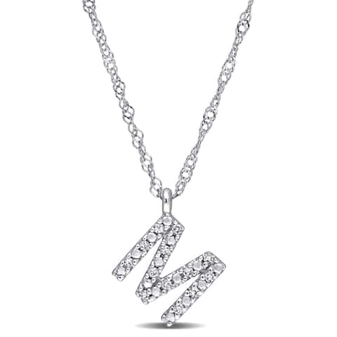 Miadora 14k White Gold Diamond Accent M Initial Necklace
