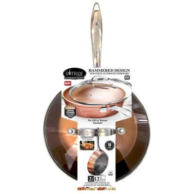 Gotham Steel Non Stick Hammered Copper 12' Fry Pan w Lid