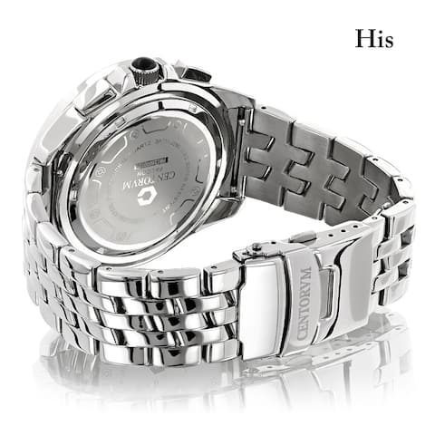 Centorum Matching His and Hers Falcon 1.05ct TDW Diamond Stainless Steel Watch Set