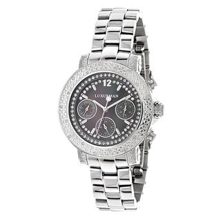 Luxurman Women's Stainless Steel Diamond Watch Metal Band plus Extra Leather Straps