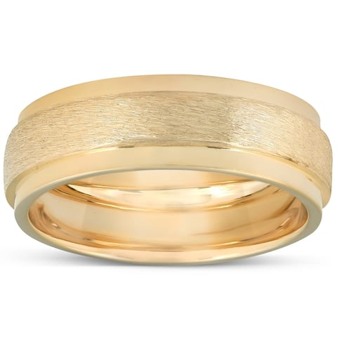 Yellow Gold Brushed Heavy Weight 7.5mm Wedding Band