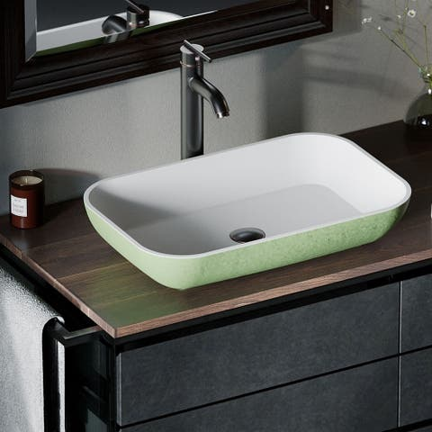 AB230 PolyStone Rectangle Vessel Sink Ensemble with ABR Vessel Faucet