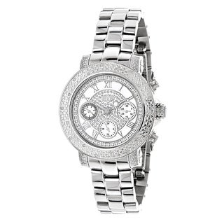 Luxurman Women's White Mother of Pearl 1/3ct White Diamond Watch with Metal Band and Extra Leather S