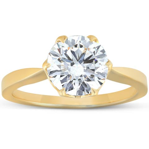 2 Ct Moissanite Solitaire Engagement Ring 14k Yellow Gold