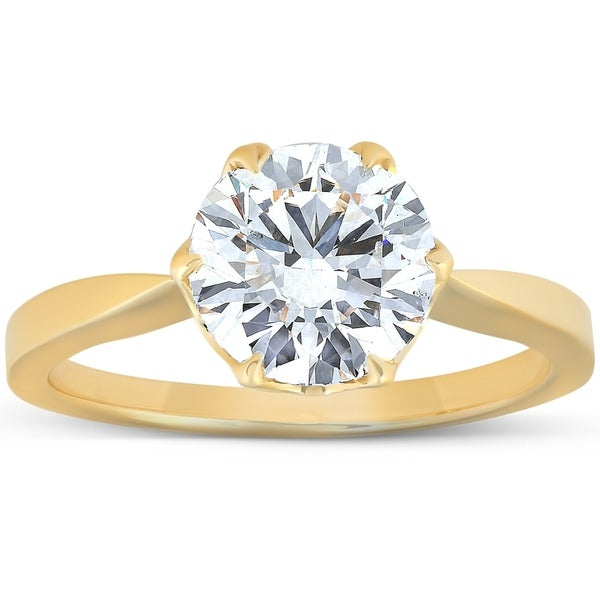 2 Ct Moissanite Solitaire Engagement Ring 14k Yellow Gold. Opens flyout.