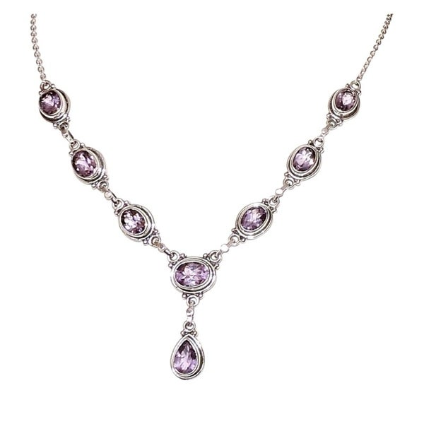 Oval Amethyst with Drop Necklace. Opens flyout.