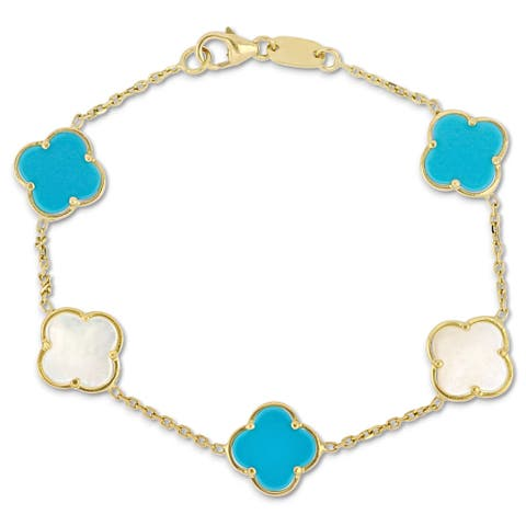 Miadora 18k Yellow Gold Created Pearl and Blue Turquoise Clover Station Link Bracelet