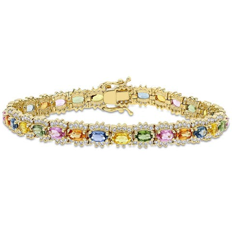 Miadora 14k Yellow Gold 1 3/4ct Diamond & Oval Multi-color Sapphire Halo Tennis Bracelet