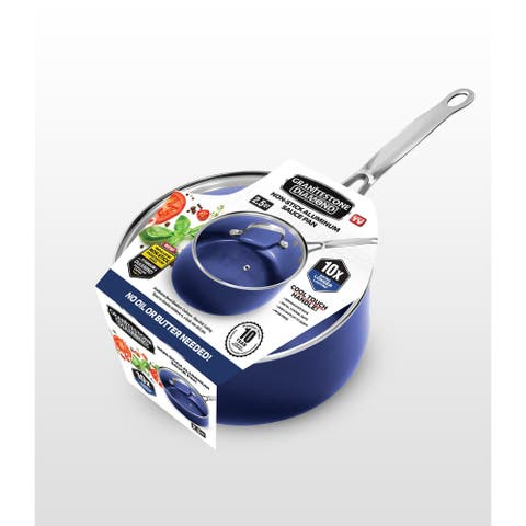 Granitestone Blue Non Stick 2.5 Qt Sauce Pot w Lid, PFOA Free