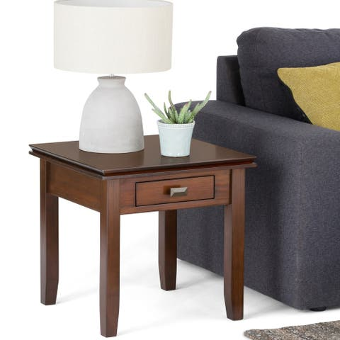 WYNDENHALL Stratford Solid Wood 21 inch Wide Square Contemporary End Side Table in Russet Brown (As Is Item)