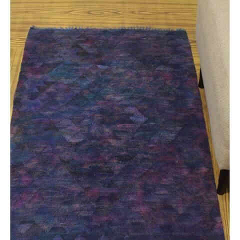 "Noori Rug Overdyed Kilim Belma Purple/Blue Rug - 2'7"" x 3'7"""